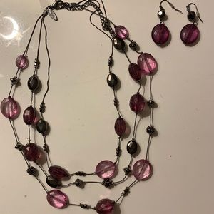 Purple bead layered necklace & earring set
